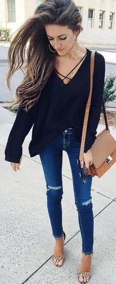 #fall #stylish #outfits | Black + Denim