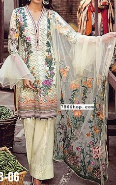 Cream Lawn Suit | Buy Shahbano Pakistani Dresses and Clothing online in USA, UK