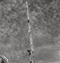 "November 1942. ""Columbia Steel Company at Geneva, Utah. Rigging a pipe-setting derrick for a new mill under construction which will make important additions to the vast amounts of steel needed for the war effort."" Photo by Andreas Feininger for the Office of War Information."