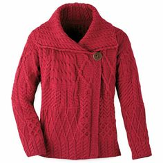 Aran Fashion Jacket Cardigan - Red.    Knit in a tantalizing array of stitches, this chic Aran jacket has an easy fit that is so very comfortable. Extra-soft 100% merino wool. From Carraig Donn of Ireland. Sizes S (10), M (12), L (14), XL (16). $139.99