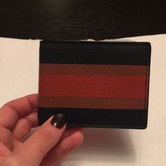 Coach slim bill wallet Brand new, never worn men's coach wallet. Has three sections for credit cards and one section for ID. Also one slim part for cash. All leather. Man About Town, Coach Wallet, Credit Cards, Coach Bags, Wallets, Card Holder, Shop My, Slim, Leather