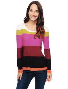 Splendid Official Store, Brighton Stripe Sweater, raspberry, Womens : Sweaters, SE5536
