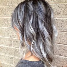 blue gray silver Balayage hair - love the cut and color