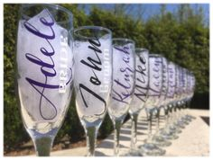Set of 12 Bridesmaid champagne glasses personalized with name and tile, Bridesmaid proposal gifts  Add a personal touch to your wedding with these elegant glasses. They are such a special way to gift your bridesmaids. They can be used many times for events like bridal showers, bachelorette parties, engagement parties, wedding rehearsals & more. They are also a great way to propose to your girls to be apart of your wedding. It will be a keepsake they can use to toast you on your big day! C...