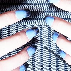 Ombre powder blue nail art seen backstage at the Georgine New York Fashion Week SS17 show.