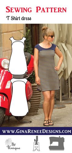The Everyday T Shirt Dress Pattern. Love this simple and classy look. It's such a comfy knit dress sewing pattern. Tee shirt dress pattern by Gina Renee Designs. T-shirt dress pattern Source by Sewing Patterns Free, Free Sewing, Pattern Sewing, Knitting Patterns, Sewing Designs, Sewing Hacks, Sewing Tips, Sewing Tutorials, Dress Tutorials