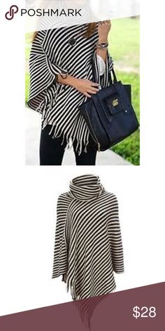 ✨RESTOCKED✨Chic Striped Poncho Black and white striped poncho with cowl neck and fringe details.  Pair with skinnies and boots for an instant boho chic look.  Bundle and save or make an offer.  🚫 Trades, thanks.   ✨NWOT ✨Acrylic fabric  ✨Ships in 1-2 days ✨Bundle and save Accessories Scarves & Wraps