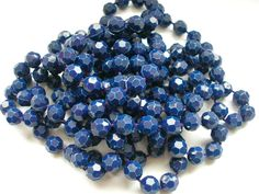 Blue hard plastic beads extra long art deco necklace by badgestuff, $6.00