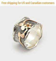 Garnet flower ring Garnet Wave Ring gift for her Flower