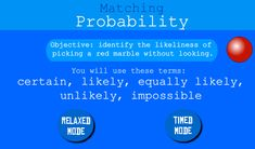Learn about probablity with this fun math game. Fun Math Games, Learning, Studying, Teaching