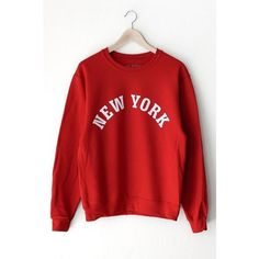 New York Oversized Sweater ($35) ❤ liked on Polyvore featuring tops, sweaters, oversized tops, over sized sweaters, oversized sweater, red sweater and red top