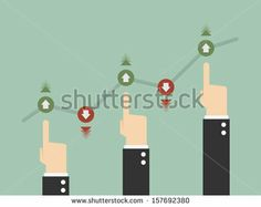 Businessman Touching a Graph Indicating Growth - stock vector