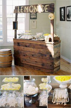 lemonade stand rustic chic yellow wedding ideas #RusticChicWeddingIdeasAndProjects