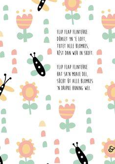 Flip flap flinterke: leuke Friese poster voor op de kinderkamer #poster #kinderkamerposter #kinderkamerkunst #fries #frysk #vlinder #lente Flipping, Words, Movie Posters, Film Poster, Billboard, Horse, Film Posters