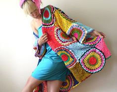 Plus Size Multicolor Crocheted Cardigan