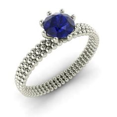 Round Sapphire  Solitaire Ring in 14k White Gold