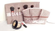 Cosmetic Makeup Bag and Brush Roll-up Zippered by belairevillage