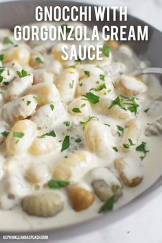 Gnocchi with Gorgonzola Cream sauce.little pillows of heaven with a creamy, decadent cheese sauce that you'll end up dreaming about! Gnocchi Recipes, Pasta Recipes, Dinner Recipes, Cooking Recipes, Dinner Ideas, Fun Recipes, Best Sauce For Gnocchi, Pasta With Cream Sauce, Italian Recipes