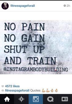 No pain. No gain. Shut up and train.
