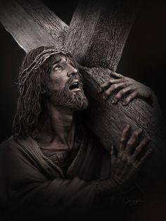 Christ walking to his crucifixion Jesus Christ Video, Pictures Of Jesus Christ, Jesus Videos, Jesus Christ Painting, Jesus Artwork, Jesus Christ Statue, Jesus Tattoo, Christus Tattoo, Jesus Drawings