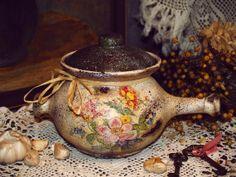 Olla de cerámica Decoupage con una tapa con motivos florales rural / decoración de estilo rústico decorativo hecho a mano Casa