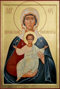 """Most Holy Theotokos """"I am with you, and who can be against you"""" Religious Images, Religious Icons, Religious Art, Madonna Art, Madonna And Child, Mother And Child Painting, Church Icon, Christian Artwork, Russian Icons"""