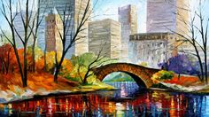 Central Park Leonid Afremov | CENTRAL PARK - NEW YORK — PALETTE KNIFE Oil Painting On Canvas By ...