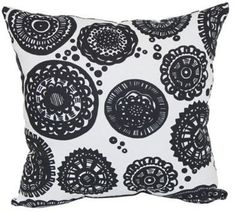Obsidian Square Outdoor Throw Pillows in Black (Set of 2)