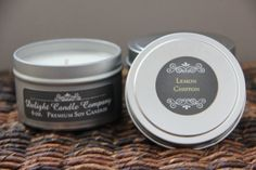 Lemon Chiffon Soy Candle / 6 oz. tin / All Natural / Hand Poured / by CreateMoreHappiness, $7.25