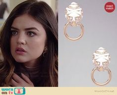 Aria's tiger earrings on Pretty Little Liars.  Outfit Details: http://wornontv.net/34903/ #PLL