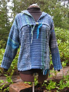 Saori weaving. additional photos of back and the yardage woven before it became this top.