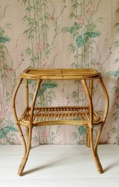 Vintage 1970s bamboo table cane bedside table by GoodsGarb on Etsy