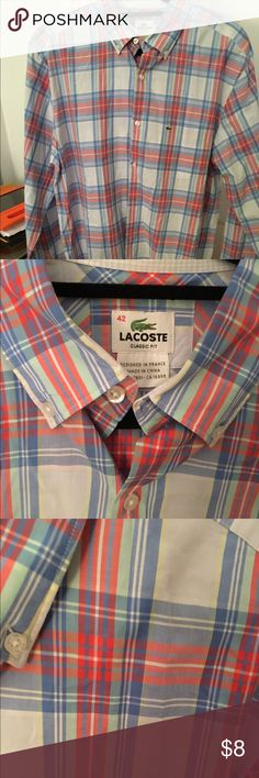 Lacoste classic fit light weight button down Lacoste size 42, men's button down, good condition. Lacoste Shirts Casual Button Down Shirts