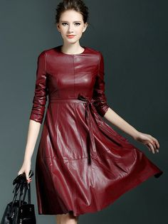 Win Red Round Neck Long Sleeve Tie-Waist Leather Dress  #Red #Leather