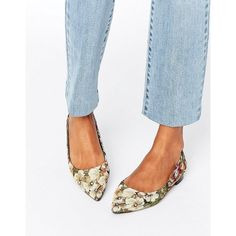 ASOS LOST Pointed Ballet Flats (£17) ❤ liked on Polyvore featuring shoes, flats, multi, flat shoes, floral ballet flats, pointed toe shoes, slip on shoes and slip-on shoes