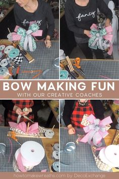 The creative coaches love making hand bows. How did they fair on the the EZ Bow Maker? Make Your Own Wreath, How To Make Wreaths, How To Make Bows, Craft Kits, Diy Kits, Craft Projects, Diy Bow, Diy Ribbon, Easy Diy Crafts