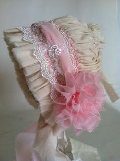 Pink chiffon and muslin pleated bonnet for newborns, Photography Prop,Lace bonnet, Easter Bonnet, Baby Bonnett. $34.99, via Etsy.
