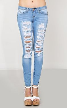 YMI Wanna Betta Butt Torn Skinny Jeans - Denim - Shop
