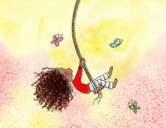 Items similar to The Girl Who Wanted To Fly - Brunette Girl Swinging and Bluebirds - Long Curly Hair - Art Print - Children on Etsy African American Girl, American Art, Girl Swinging, Brunette Girl, Butterfly Art, Whimsical Art, Cute Illustration, Hair Art, Diy Beauty