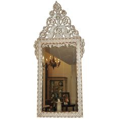 Circa 1890 Moroccan inlaid mirror with mother of pearl, bone and ivory.