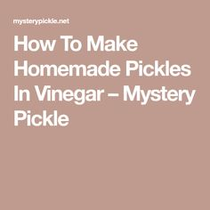 How To Make Homemade Pickles In Vinegar – Mystery Pickle