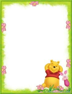 Winnie the Pooh Borders and Frames Borders For Paper, Borders And Frames, Disney Scrapbook, Scrapbook Paper, Disney Frames, Stationary Printable, Disney Background, Winnie The Pooh Friends, Pooh Bear