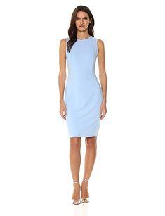 da11f463 Calvin Klein Women's Scuba Crepe Sleeveless Princess Seam Sheath Dress-Sheath  Dresses Perfect Body Shape