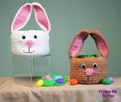 Crochet Amigurumi Rabbit Patterns Bunny Easter Basket Free Crochet Pattern - There are so many crochet Easter Basket patterns out there, we've compiled a list of wonderful Crochet Easter Basket Free Patterns to share with you. Easter Bunny Crochet Pattern, Crochet Basket Pattern, Crochet Rabbit, Crochet Baskets, Diy Crochet Easter Basket, Holiday Crochet Patterns, Easter Projects, Amigurumi Patterns, Easter Baskets
