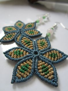 Blue&Green Flowers Macrame Earrings with by PapachoCreations, $25.00