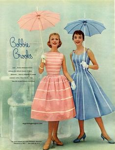 The Nifty Fifties — Dress fashions by Bobbie Brooks, 1956 Vintage Fashion 1950s, Fifties Fashion, Vintage Mode, Vintage Stil, Vestidos Vintage, Vintage Dresses, Vintage Outfits, 1950s Dresses, Vintage Clothing
