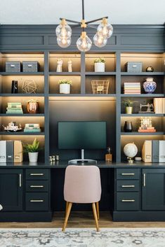 My Gorgeous DIY Office Built ins Reveal - Honeybear Lane Gray Home Offices, Home Office Space, Home Office Design, Home Office Decor, Home Decor, Office Ideas, Interior Office, Office Setup, Office Designs