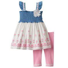 Toddler Girl Nannette Smocked Chambray Flower Tunic & Leggings Set, Pink