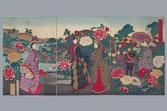 Hashimoto Chikanobu    1888 Japanese Fashion, Japanese Art, Japanese Style, Imperial Life, Era Meiji, Meiji Restoration, Taisho Era, Victorian Costume, Triptych