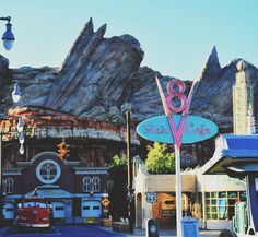 Disneyland's Cars Land ~ View From Route 66.  Enjoy Flo's V8 ~ Fun 1950's Diner!